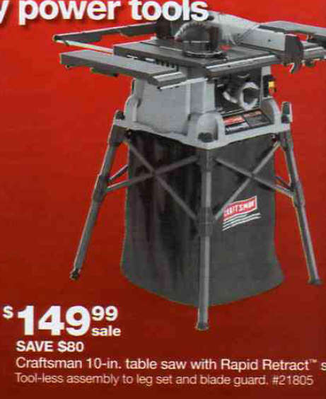 Black Friday Deal Craftsman 10 In Table Saw With Rapid