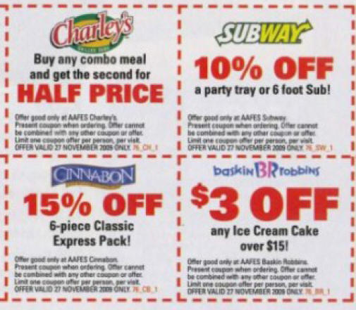 Subway menu coupons