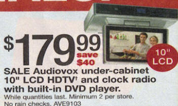 Black Friday Deal Audiovox Under Cabinet 10 Quot Lcd Hdtv And