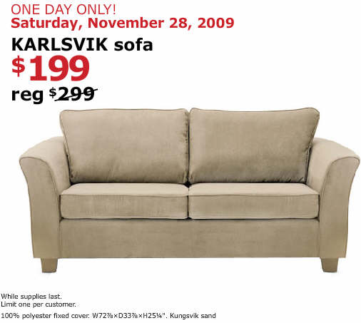 black friday deal karlsvik sofa saturday only
