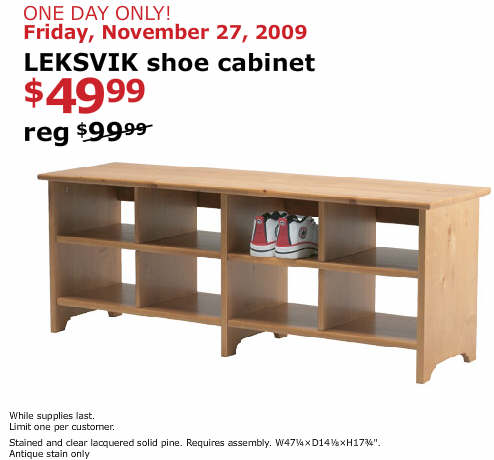 Black friday deal leksvik shoe cabinet antique stain for Black friday deals on kitchen cabinets