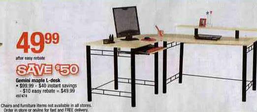 Black Friday Deal Z Line Gemini L Desk Maple Black