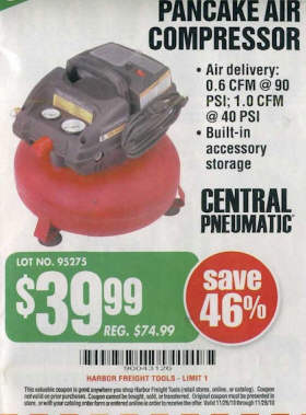 Black Friday Deal Central Pneumatic 3 Gallon 100 Psi
