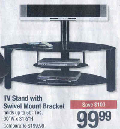 black friday deal tv stand with swivel mount bracket holds up to 50 tvs friday. Black Bedroom Furniture Sets. Home Design Ideas