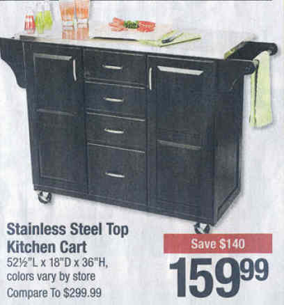 Black friday deal stainless steel top kitchen cart friday - Big lots kitchen carts ...