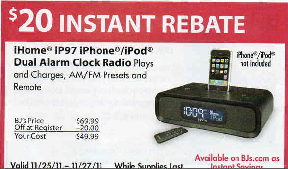 black friday deal ihome ip97 iphone ipod dual alarm clock radio ip97. Black Bedroom Furniture Sets. Home Design Ideas