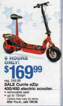 Black friday deal currie ezip 450 electric scooter for Motorized scooter black friday
