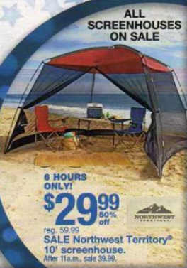 (Please always check with local stores to confirm. Errors? email editor at dealigg.com) & Black Friday Deal: Northwest Territory 10 ft. Screenhouse - 26-037