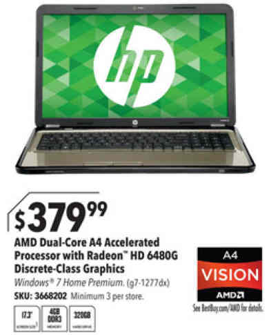 "HP Pavilion g7-1277dx Laptop: 17.3"", AMD 1.9GHz, 4GB Memory, 320GB"
