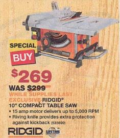 Black Friday Deal Ridgid 10 Quot Compact Table Saw R45161