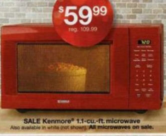 Countertop Microwave Black Friday : Black Friday Deal: Kenmore 1.1 cu. ft. Countertop Microwave-Red - 6622