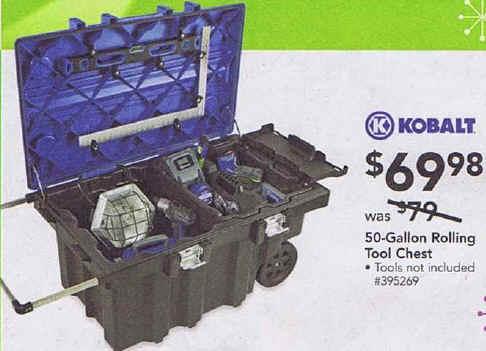 black friday deal: kobalt 50-gallon rolling tool chest - tbd