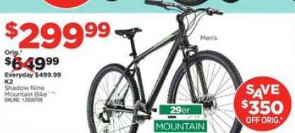 Black Friday Deal K2 Shadow 9 29 Mountain Bike