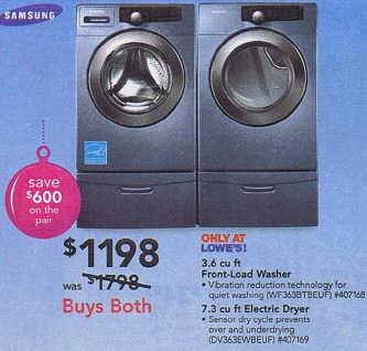 Black Friday Deal Samsung 3 6 Cu Ft Front Load Washer