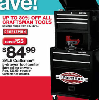 craftsman 5 drawer homeowner tool center with riser - chest of drawers