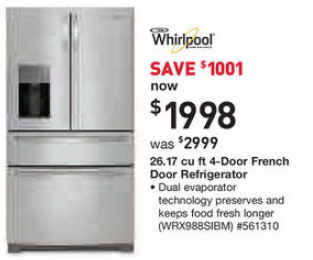 Black Friday Deal Whirlpool 26 2 Cu Ft Stainless Steel