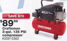 Black Friday Deal Craftsman 3 Gal Oil Lube 135 Psi