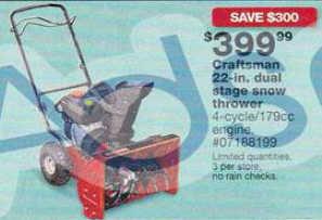 black friday deal craftsman 22 in dual stage snow thrower. Black Bedroom Furniture Sets. Home Design Ideas