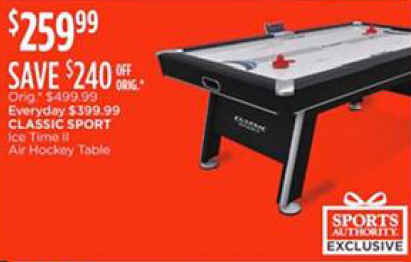 Black Friday Deal Classic Sport Ice Time II Air Hockey Table - Classic air hockey table