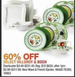 Black Friday Deal: 60% off Villeroy & Boch Dinnerware Sets