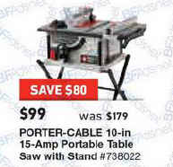 Black friday deal porter cable 15 amp 10 in carbide tipped table saw please always check with local stores to confirm errors email editor at dealigg greentooth Choice Image
