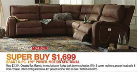 Black Friday Deal Brant Fabric Power Reclining Sectional Sofa