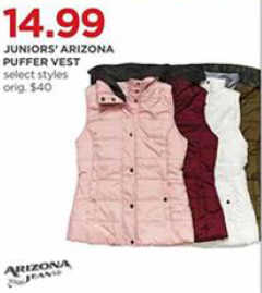 d0095373818 Black Friday Deal  Arizona Juniors Puffer Vest